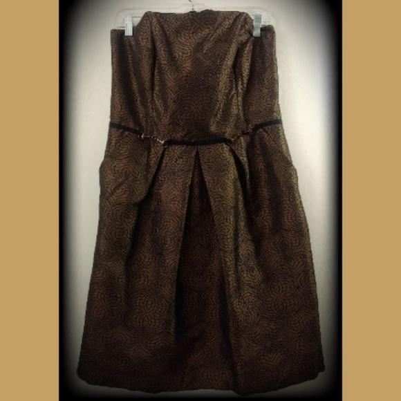 25f1b6ada51 NWT Antonio Melani 14 Bronze Black Evening Dress